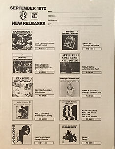 JIMI HENDRIX COLLECTOR MEMORABILIA/ CATALOG REPRISE RECORDS SEPTEMBER 1970