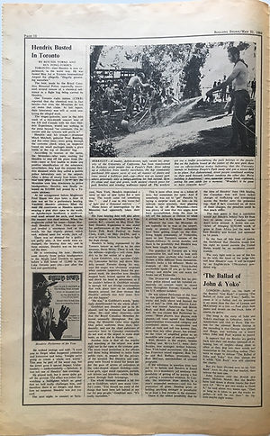 "jimi hendrix newspaper 1969 / rolling stone magazine may 31 1969 ""busted in toronto"""
