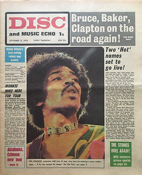 jimi hendrix newspaper 1970 /disc music echo  september 12, 1970 /