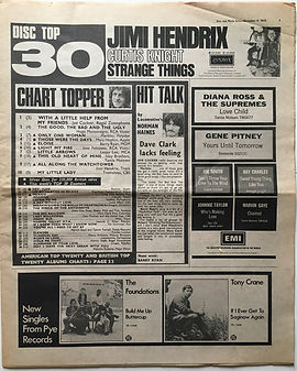 jimi hendrix newspaper 1968/ disc music echo november 9 1968 top 30: all along the watchtower N°9