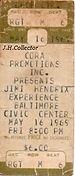 jimi hendrix memorabilia 1969/ticket