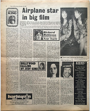 jimi hendrix newspaper 1968/disc music echo november 23 1968