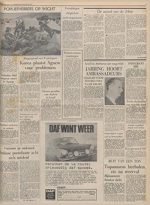 jimi hendrix newspapers, 1970 / de volkskrant augt. 26,1970