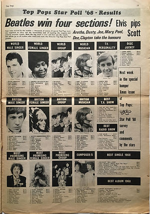 jimi hendrix newspaper 1968 /top pops 15-20 december  1968/star poll ' 68 results