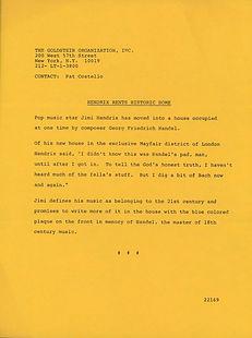 jimi hendrix memorabilia 1968 / gac press dept. kit press 68