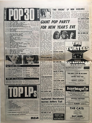 jimi hendrix newspaper 1968/melody maker top 30