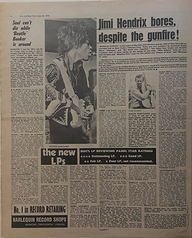 jimi hendrix newspaper 1970 /disc music echo  june 20, 1970