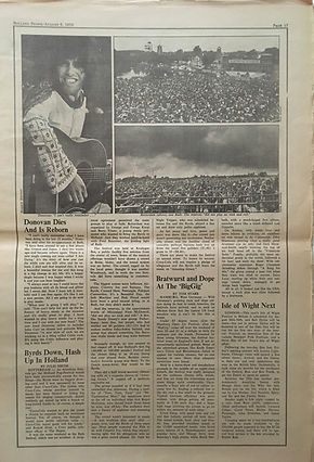 jimi hendrix newspapers 1970 / rolling stone  august 6,1970 / festivals 70