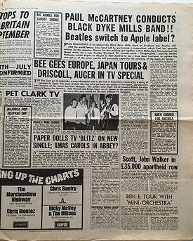 jimi hendrix newspaper/new musical express 29/6/68 majorca pop festival off