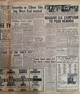 jimi hendrix newspaper 1967/ new musical express 18/3/67massive us. campaingn to push hendrix