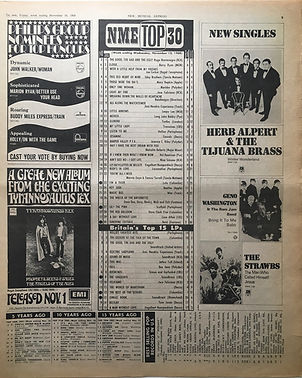 jimi hendrix newspaper 1968/ top 30 new musical express 16/11/68