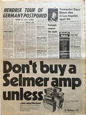 jimi hendrix newspaper/melody maker july 6 1968/hendrix tour of germany postponed