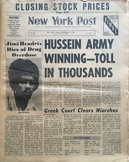 jimi hendrix newspaper 1970 / new york post : september 18, 1970 / jimi hendrix dies .....