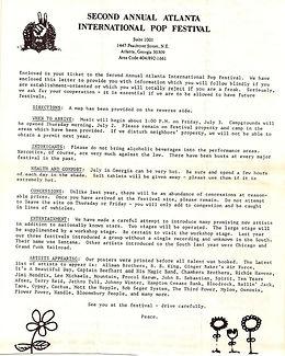 jimi hendrix memorabilia 1970 / letter program  atlanta pop festival 1970