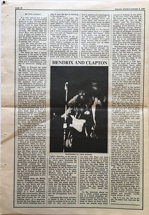 jimi hendrix collector newspaper/rolling stone N°1/hendrix and clapton/november 9/1967 USA
