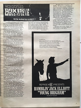 jimi hendrix newspaper/the seed march 1968 axis bold as love