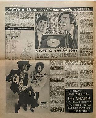 jimi hendrix newspaper/disc music echo may 11 1968:ad smash hits