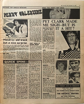 jimi hendrix collector newspapers/hendrix old track but a nice surprise/dis music echo 16/9/67
