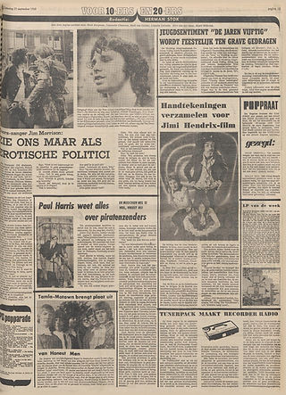jimi hendrix newspaper 1968/ het parool  september 21 1968