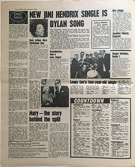 jimi hendrix newspaper/disc & music echo 5/10/68 :new jimi hendrix single is dylan song