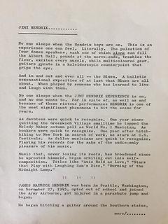 jimi hendrix memorabilia 1967 / press kit leslie perrin