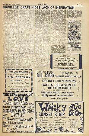 jimi hendrix newspaper/los angeles free press/september 29 1967 wisky agogo AD/