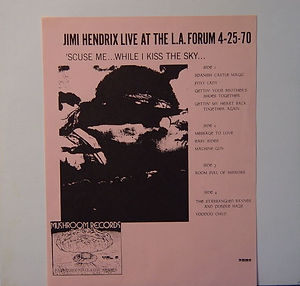 "jimi hendrix vinyls bootlegs lp /jimi hendrix live at the los angeles forum  "" scuse me.... while i kiss the sky / mushroom records multicolor"