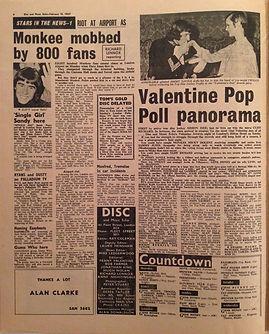 jimi hendrix newspaper 1967 / disc music echo feb.18, 1967