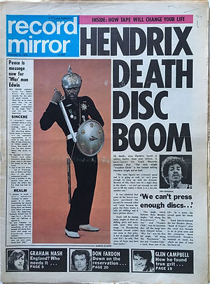 jimi hendrix newspapers 1970 / record mirror november 14,  1970