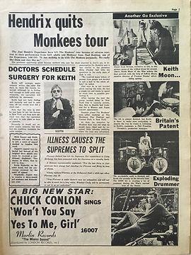 jimi hendrix NEWSPAPERS collector/  go 4/8/67