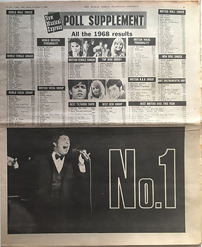 jimi hendrix newspaper 1968/new musical express 12/7/68 poll supplement 1968