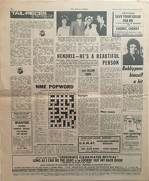jimi hendrix newspaper 1970 / new musical express / september 5, 1970 / hendrix - he's a beautiful person