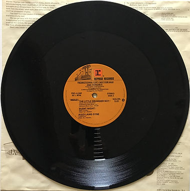 jimi hendrix maxi single vinyl/side 2/the little drummer boy/silent night/auld lang syne 1979