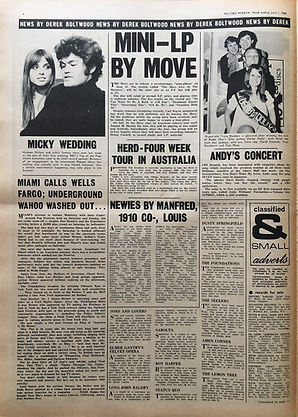 record mirror june 1 jimi hendrix newspaper/ 1968