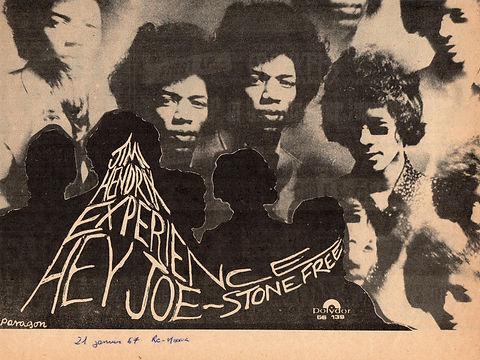 jimi hendrix newspaper 1967/AD hey joe/stone free : melody maker/record mirror/new musical express/disc é music echo/ january 1967