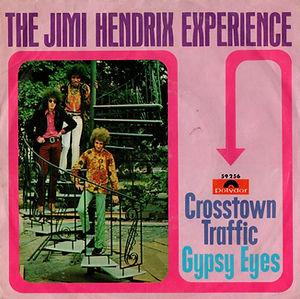 jimi hendrix collector vinyls singles 45t/crosstown traffic/gypsy eyes polydor norway/dk/finland/sued.. polydor 1968