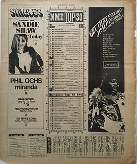 jimi hendrix newspaper/new musical express 27/1/68 top 15LPs