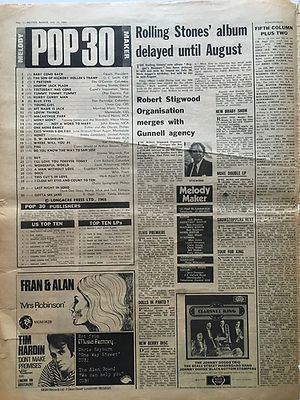 jimi hendrix newspapers/melody maker july 13 1968 LPs top ten :smash hits N°8