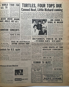 jimi hendrix newspaper 1968 /new musical express 16/11/68