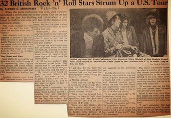 jimi hendrix newspaper/new york post february 1 1968/ 32 british rock'n'roll starts strum up a us tour
