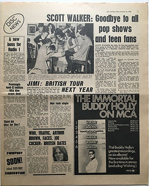jimi hendrix newspaper 1968/disc & music echo 26/10/68