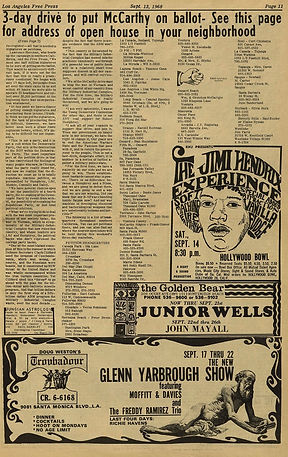 jimi hendrix newspaper 1968 /los angeles free press 13/9/68
