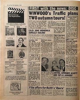 jimi hendrix collector newspapers/disc music echo 9/9/1967  /old jimi hendrix single issued/