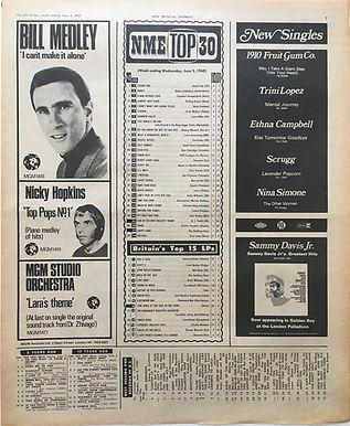 jimi hendrix newspaper/new musical express june 8 1968/top 15 lps: smash hits N° 8