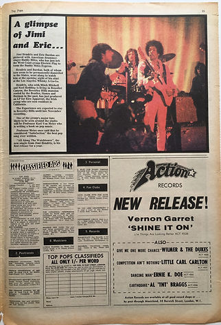 jimi hendrix newspaper 1968/top pops 19-25 1968/a glimpse of jimi and eric....