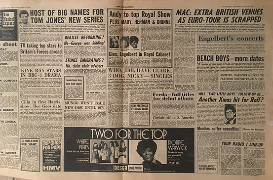 jimi hendrix newspapers 1970 / new musical express  :  october 10  1970