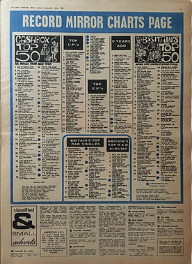jimihendrix collector newspapers/record mirror 16/9/67 top50/top lp are you experienced N°5