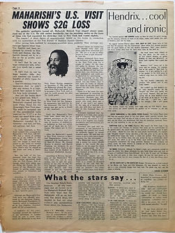 jimi hendrix newspaper/go 9/2/68  hendrix cool and ironic