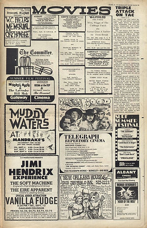 jimi hendrix newspaper/berkeley barb september 6-12 1968