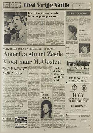 jimi hendrix newspapers 1970 / het vrije volk sept. 19 1970